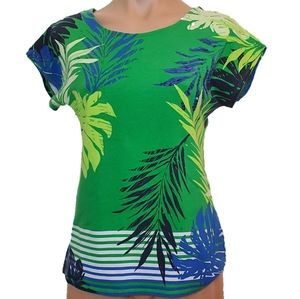 Ruby Rd Tropical Print Sequin Accent Tee